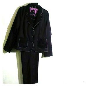Torrid 2 Piece Pant Suit Striped Lace Gray 2/18